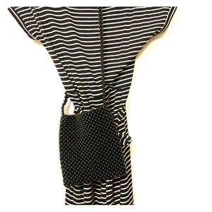 Striped dress (sm) and Beaded purse combination
